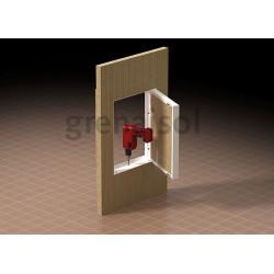 Brandskyddsskiva med dörr
